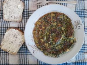 Omlet hiszpański ze szpinakiem